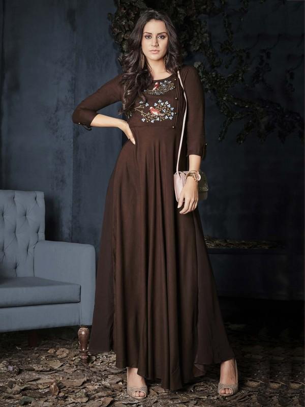 Brown Colour Rayon Fabric Readymade Kurti.