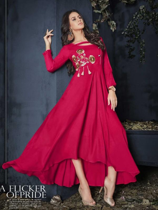 Red Colour Rayon Fabric Anarkali Kurti.