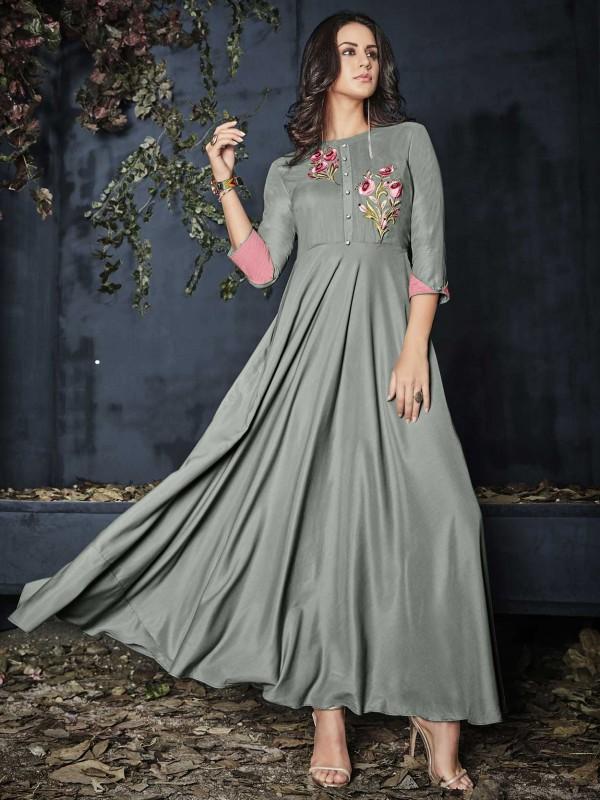 Rayon Fabric Readymade Kurti Grey Colour.
