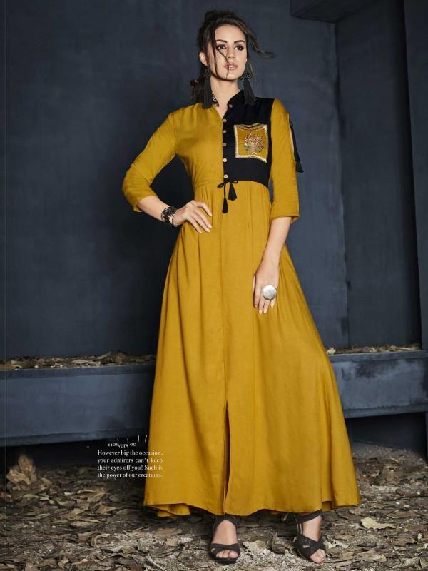 Mustard Yellow Colour Rayon Fabric Readymade Kurti.