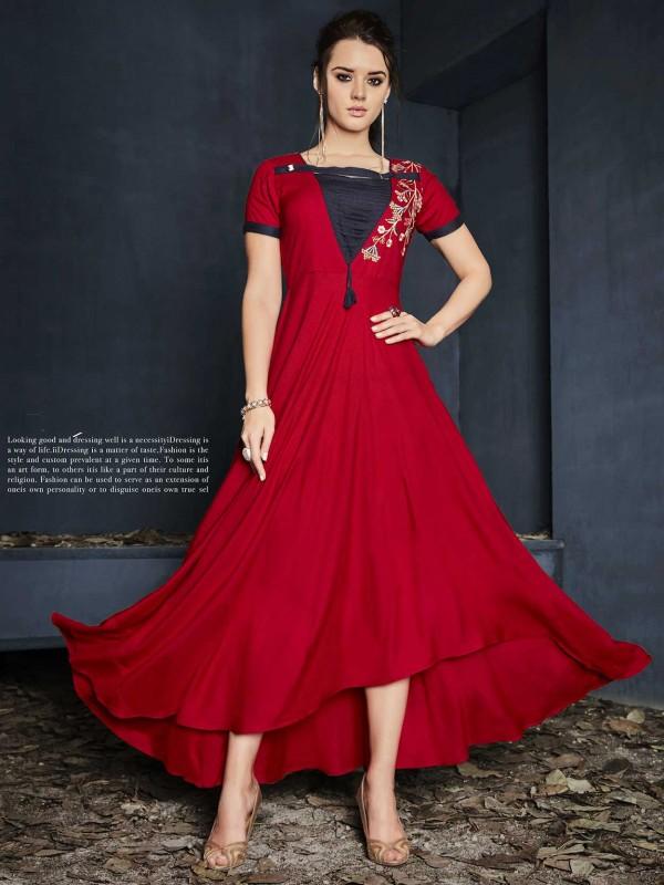 Red Colour Designer Kurti in Cotton Fabric.