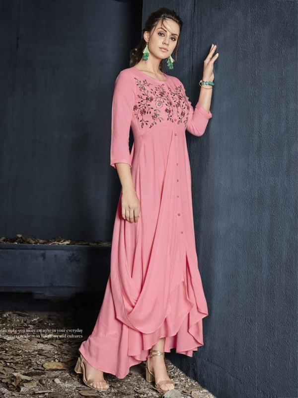 Pink Colour Cotton Fabric Readymade Kurti.