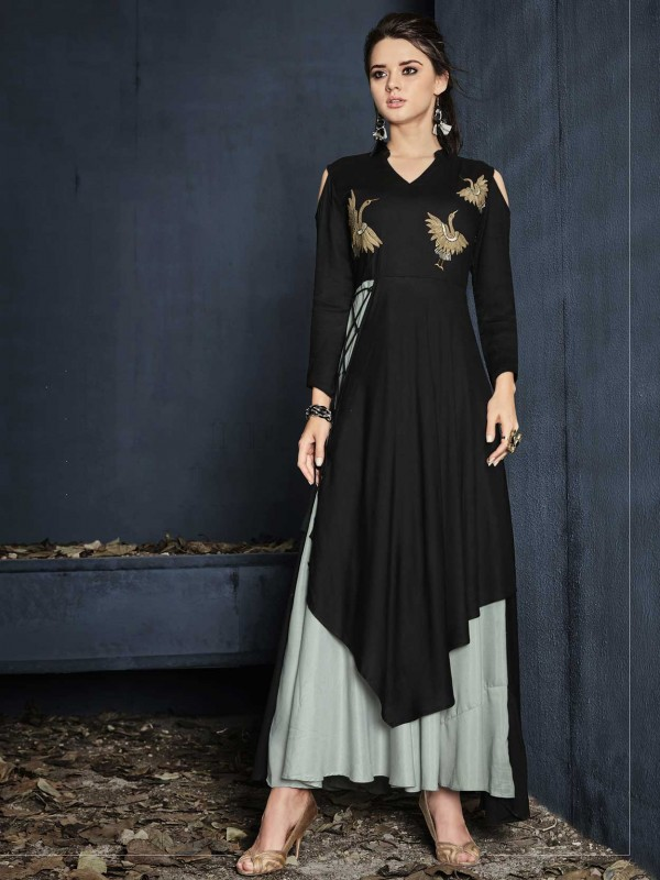 Black Colour Rayon Fabric Party Wear Kurti.