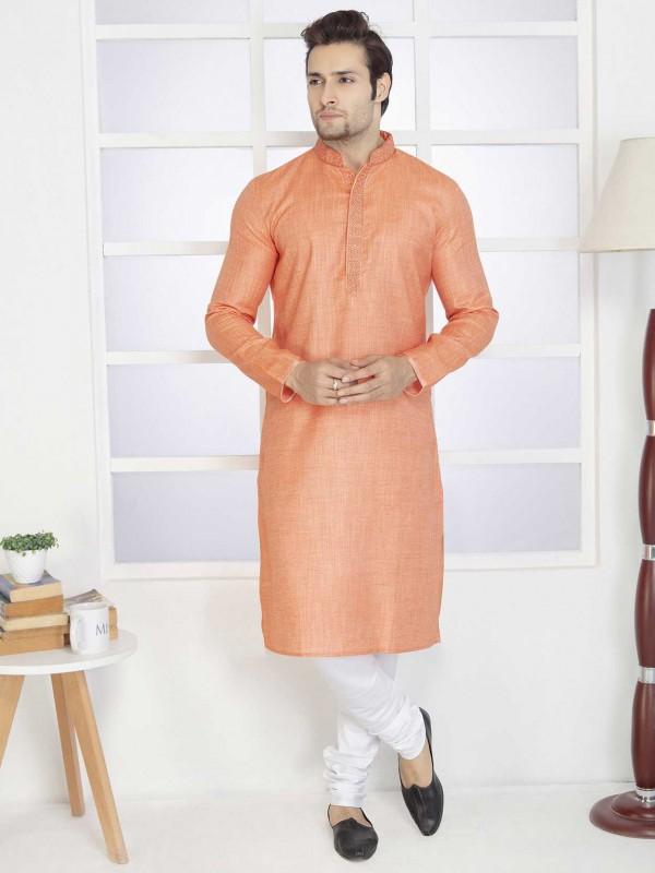 Orange Colour Cotton Kurta Pajama.