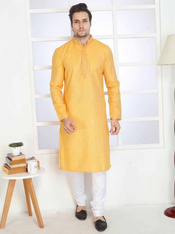 Yellow Colour Plain Cotton Kurta Pajama.