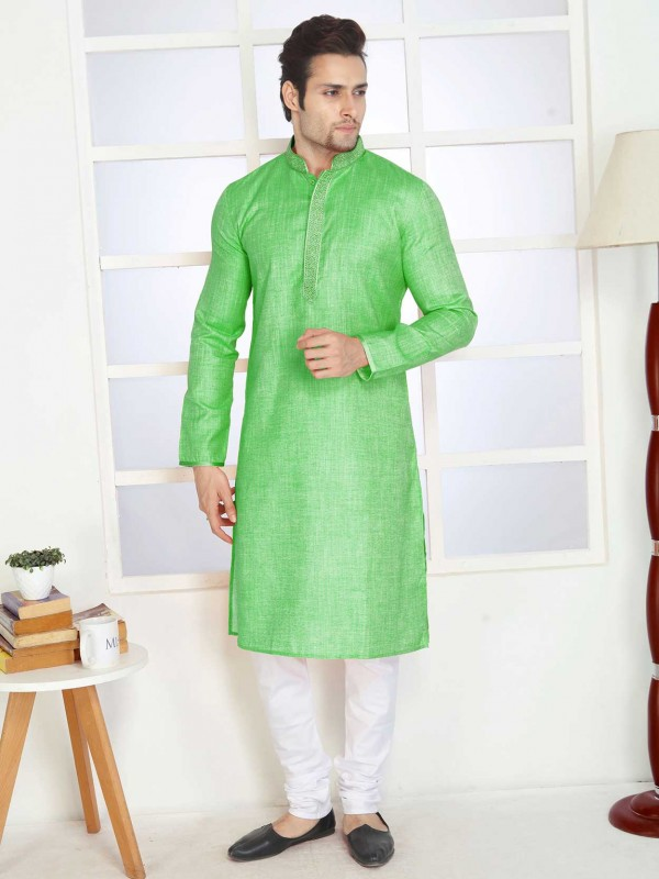 Green Colour Plain Kurta Pajama Cotton Fabric.