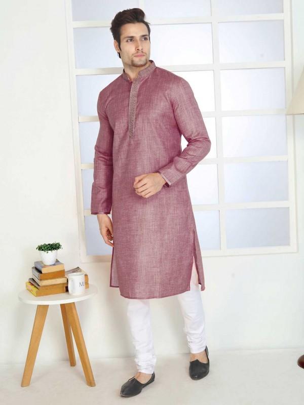 Purple Colour Cotton Kurta Pajama.