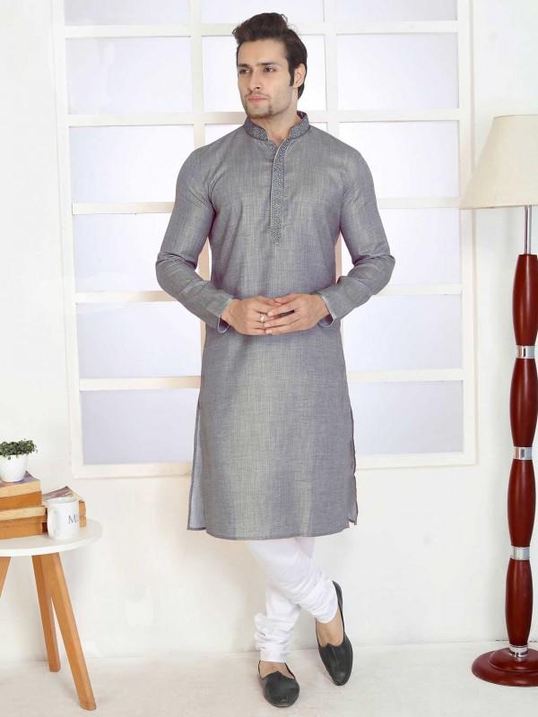 Grey Colour Cotton Fabric Casual Kurta Pajama.
