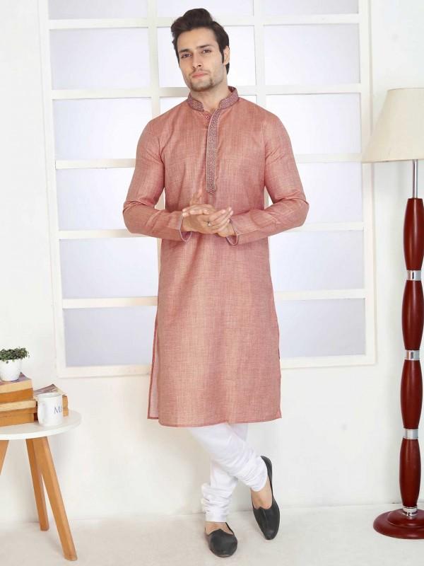Rust Colour Cotton Kurta Pajama.