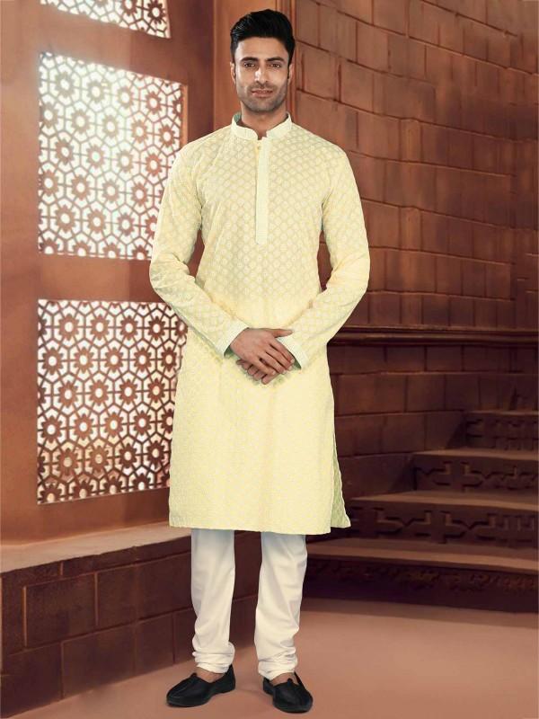 Yellow Colour Cotton Kurta Pajama.