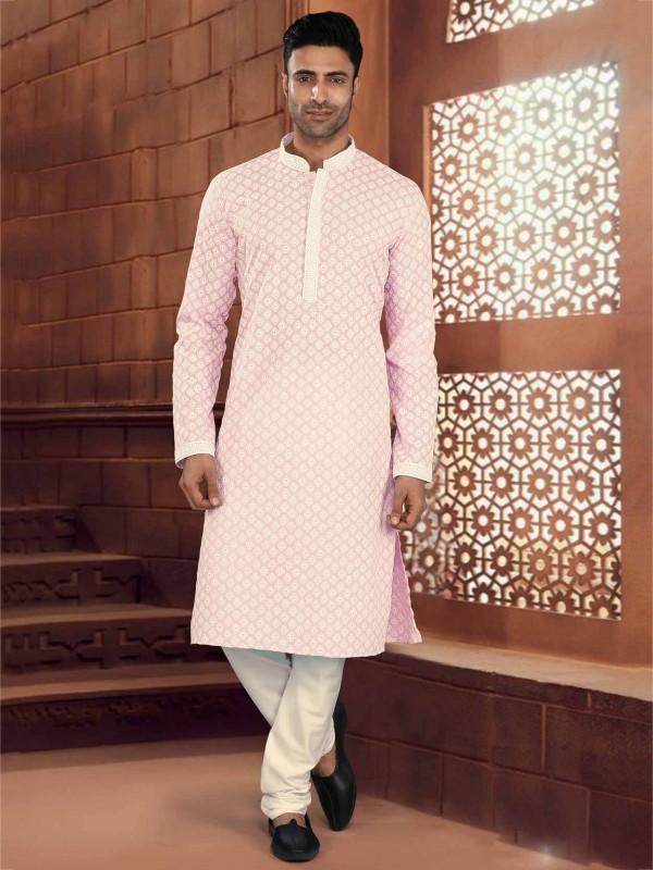 Pink Colour Cotton Fabric Chikankari Kurta Pajama.