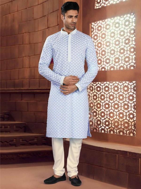 Blue Colour Chikankari Kurta Pajama in Cotton Fabric.