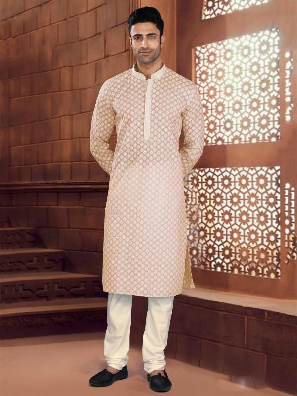 Peach Colour Cotton Readymade Kurta Pajama.