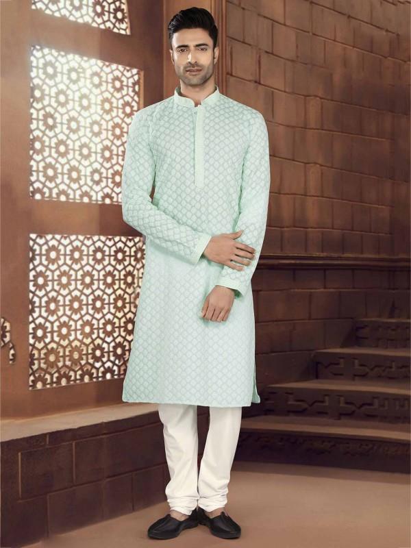 Pista Green Colour Cotton Kurta Pajama.