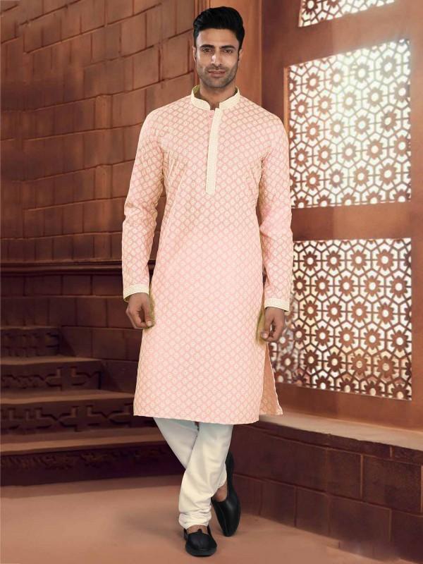 Orange Colour Cotton Readymade Kurta Pajama.
