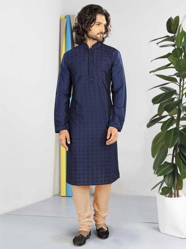 Blue Colour Cotton Fabric Party Wear Kurta Pajama.
