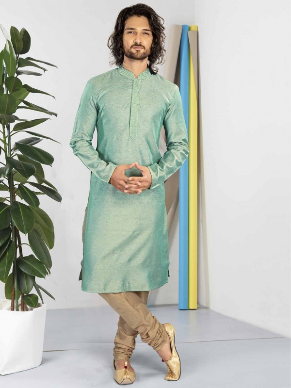 Turquoise Colour Cotton Fabric Readymade Kurta Pajama.