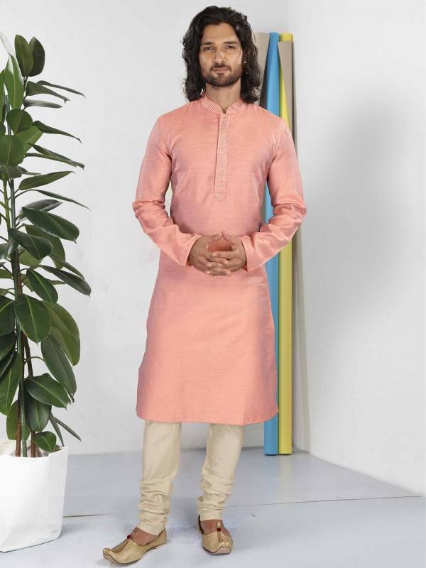 Cotton Fabric Readymade Kurta Pajama Peach Colour.