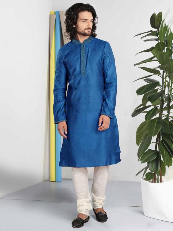 Blue Colour Cotton Kurta Pajama For Men.