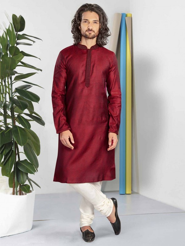 Maroon Colour Cotton Fabric Designer Kurta Pajama.