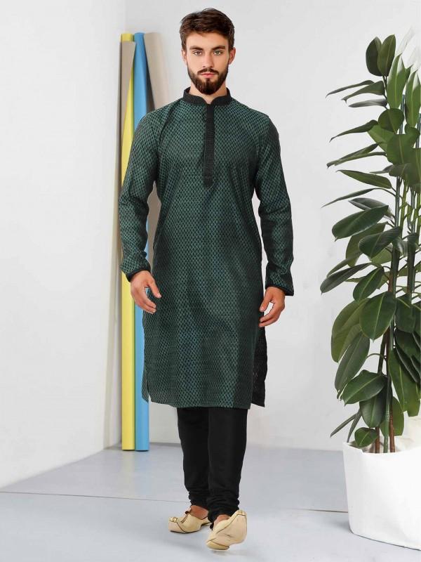 Dark Green Colour Cotton Kurta Pajama.