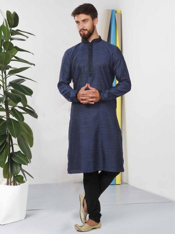 Cotton Fabric Designer Kurta Pajama Blue Colour.