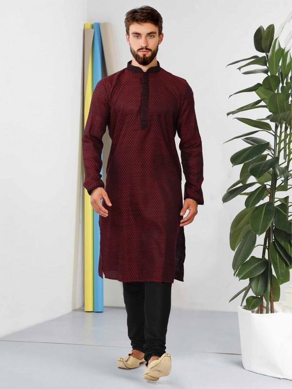 Maroon Colour Cotton Fabric Men's Kurta Pajama.