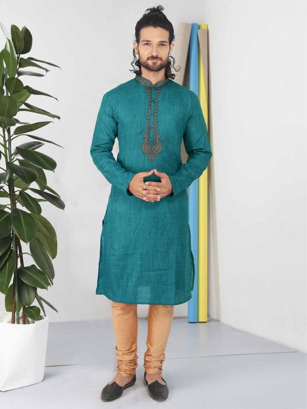 Green Colour Cotton Kurta Pajama.