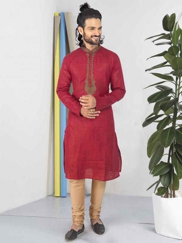 Red Colour Designer Kurta Pajama Cotton Fabric.