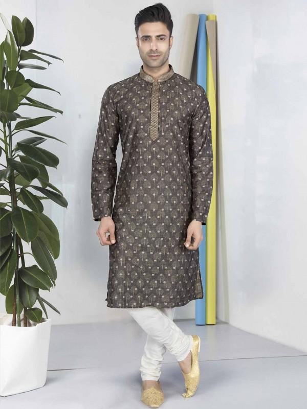 Cotton Kurta Pajama Grey Colour.