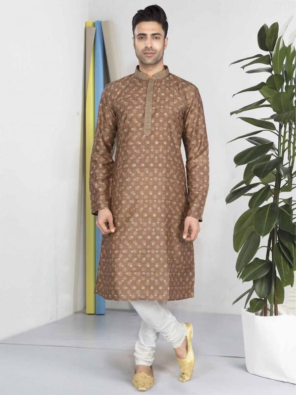 Brown Colour Cotton Fabric Readymade Kurta Pajama.