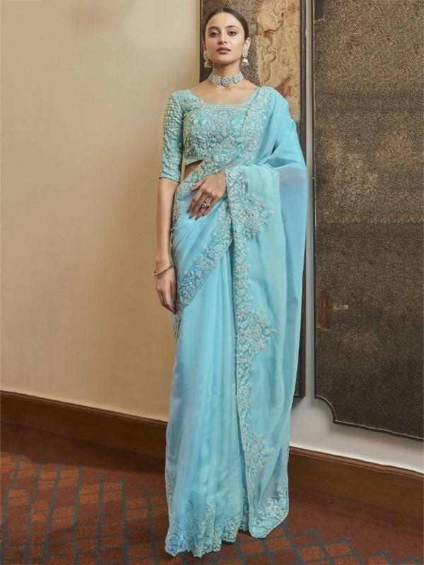 Blue Colour Organza Fabric Designer Saree.