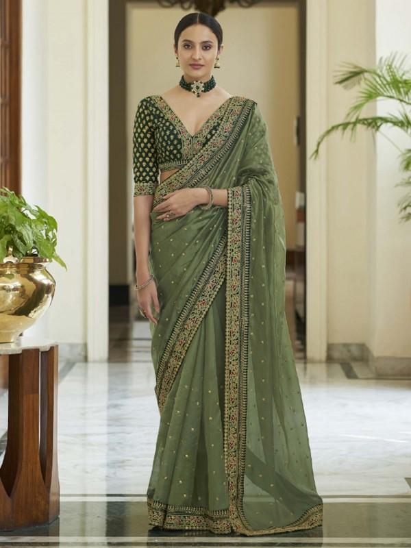 Organza Fabric Indian Designer Saree Green Colour.
