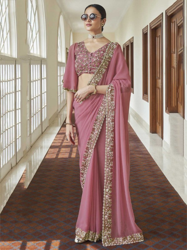 Pink Colour Georgette Fabric Indian Wedding Saree.