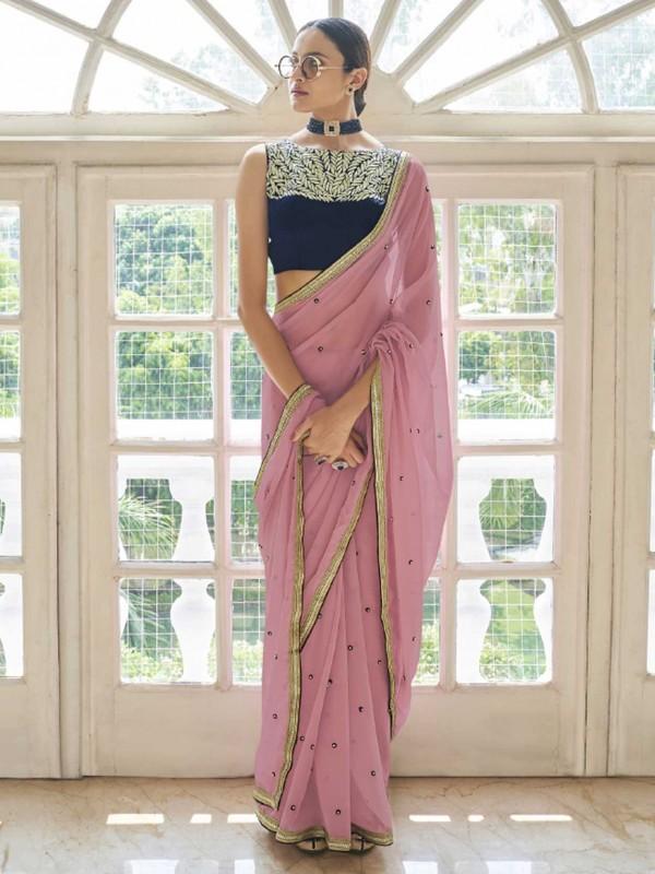 Peach Colour Georgette Fabric Designer Saree.