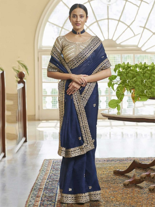 Blue Colour Organza Fabric Women Saree With Zari,Sequin Work.