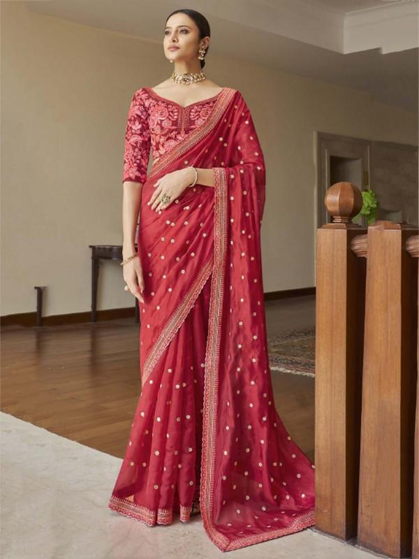 Pink Colour Organza Fabric Designer Bridal Saree.