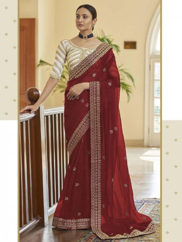 Red Colour Organza Fabric Indian Wedding Saree.