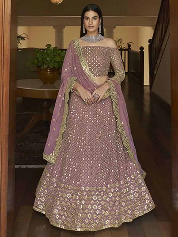 Light Pink Colour Georgette Fabric Designer Lehenga Choli.