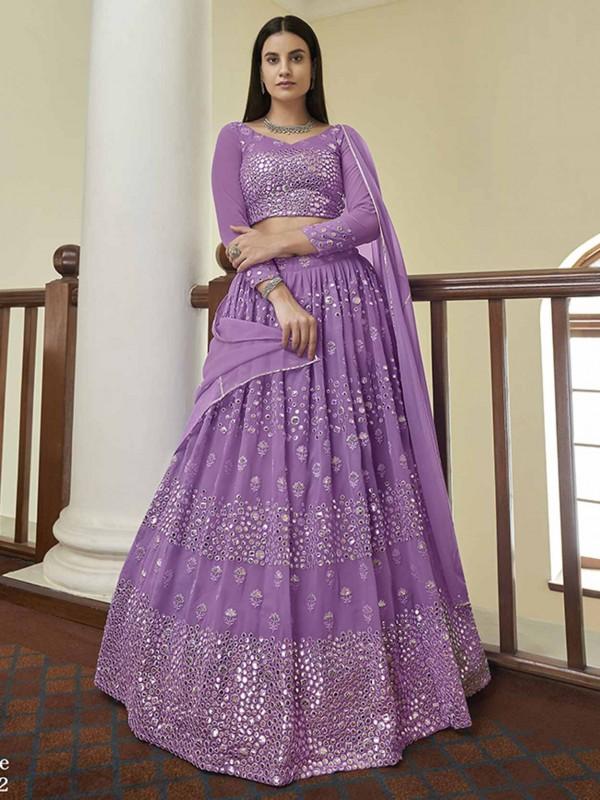 Purple Colour Georgette Lehenga Choli With Resham,Mirror Work.