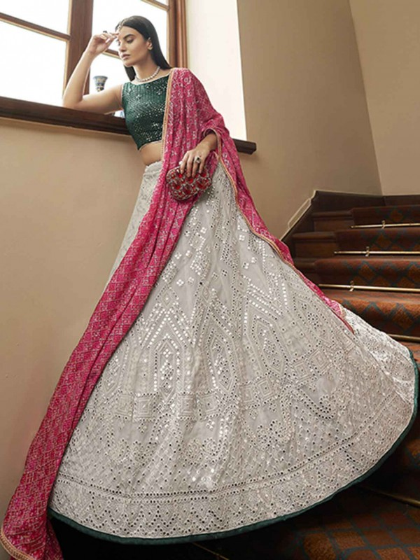 Organza Fabric Grey Colour Lehenga Choli With Sequin,Mirror,Resham Work.