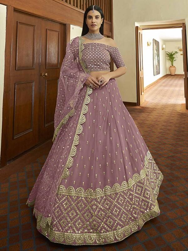 Georgette Fabric Designer Lehenga Choli Light Pink Colour.