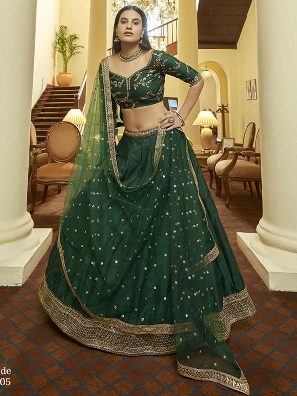 Exclusive Designer Lehenga Choli Green Colour Art Silk Fabric.