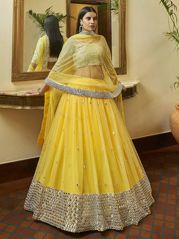 Yellow Colour Net Indian Wedding Lehenga Choli.