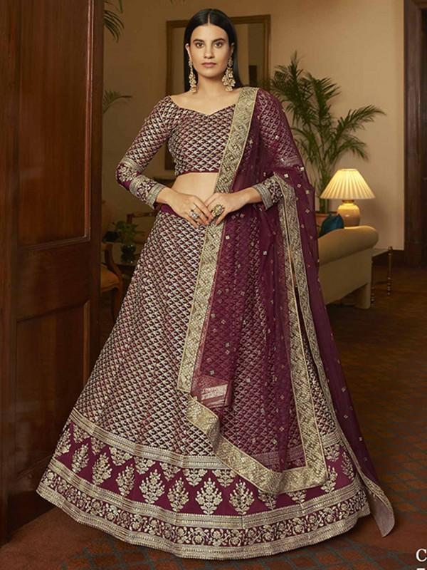 Maroon Colour Wedding Lehenga Choli in Crepe Fabric.
