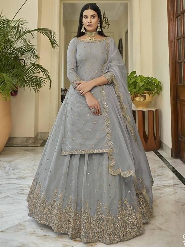 Grey Colour Organza Fabric Lehenga Choli With Sequin Work.