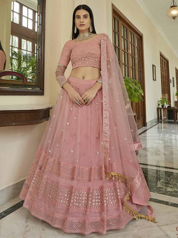 Peach Colour Net Fabric Lehenga Choli With Lace,Resham,Sequin Work.
