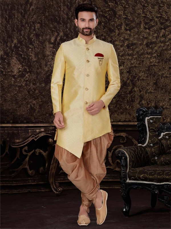 Yellow Colour Jacquard,Silk Fabric Designer Indowestern.
