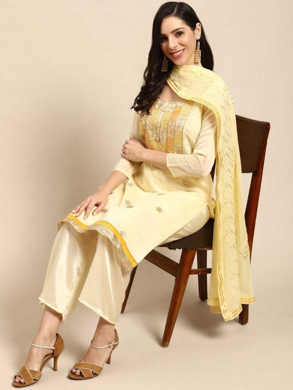 Yellow Colour Silk Fabric Palazzo Salwar Suit.