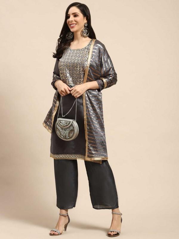 Grey Colour Palazzo Salwar Suit in Silk Fabric.